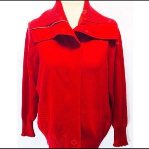 Caslon Red Cotton Cardigan Sweater